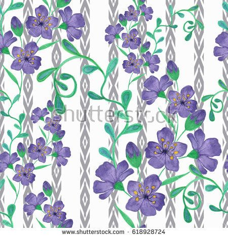 Colorful floral watercolor seamless illustration. Vintage  hand drawn blue flowers.
