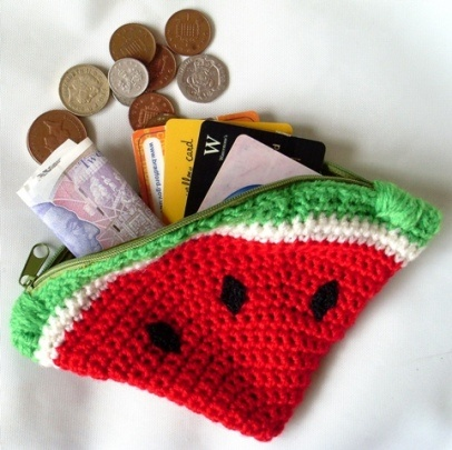 Watermelon Coin Purse: Watermelon Coins, Pur Patterns, Crochet Bags, Free Crochet, Coin Purses, Free Patterns, Crochet Purses, Crochet Patterns, Coins Purses Patterns