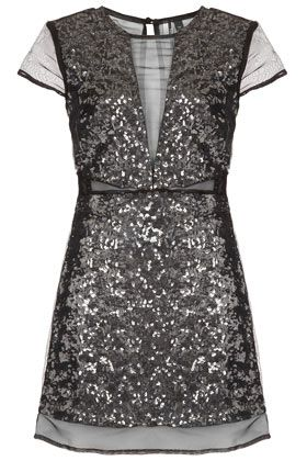 TOPSHOP Sequin Organza Shift Dress ($170) ❤ liked on Polyvore