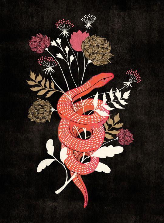 LessTalkMoreIllustration. Pink snake, flowers illustration