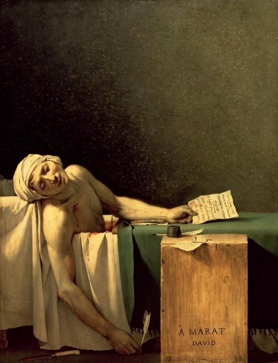 1793 the Assassination of Marat, a radical journalist leader during the Terror. Jaques Louis David painted this within months of his comrades death.