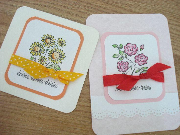 195.ウォーターカラーペンシルで色付け お花のカードいろいろ | 簡単手作りカード                                             Chocolate Card Factory