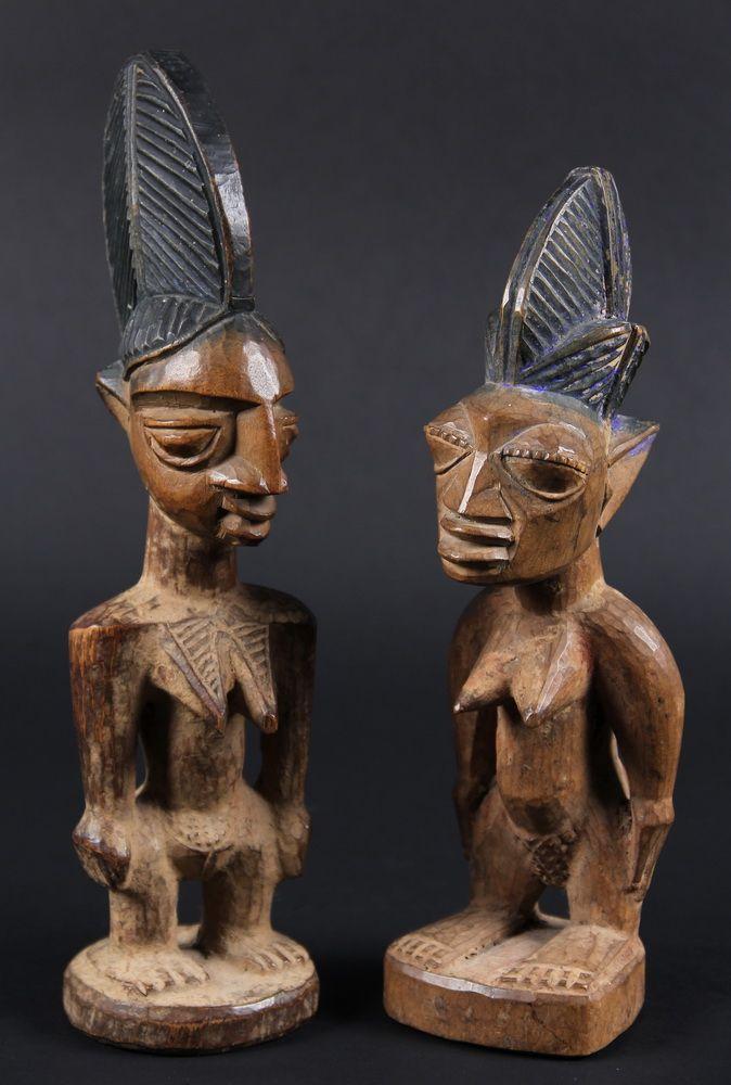 AFRICAN FIGURES - Yoruba People, Nigeria, Two Ibeji Twin ... Yoruba Tribe Twins