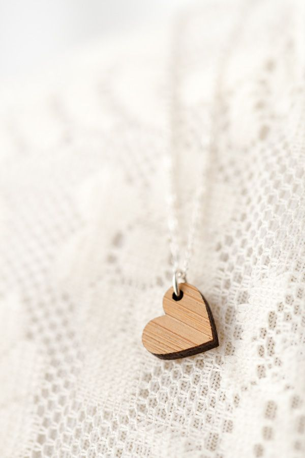 Sweet little bamboo heart necklace. Great DIY gift for a special friend!