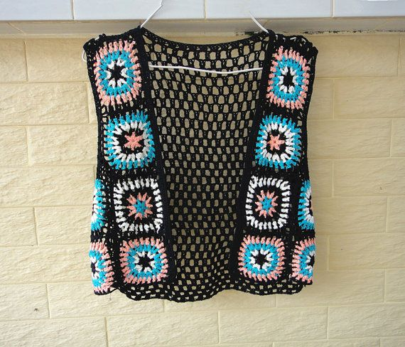 granny square crochet cropped vest