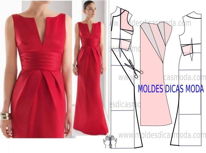 Faça a analise de forma detalhada do desenho do molde do vestido de festa. Vestido simples e sofisticado que veste de forma elegante.