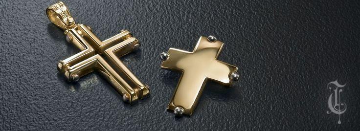 σταυροί βάπτισης, βαπτιστικοί σταυροί Τριάντος, gold crosses jewelry κωδικοί προϊόντων από αριστερά : 1.1.1133 και 1.1.1094