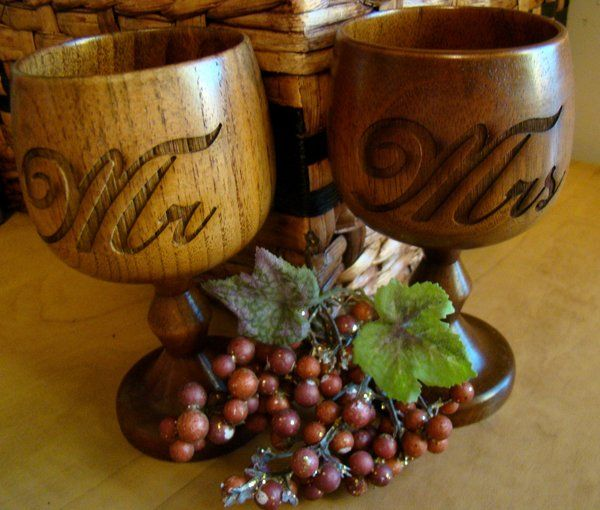 Custom Wooden Engraved Personalized Natural Wood Wine Goblet Glass 5 oz.