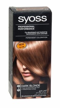 Syoss Professional Permanent Hair Colour 6-8 Dark Blonde Professional grey coverage. Shiney result. Co-developed and tested by hairdressers and colorists. Co-developed and tested by hairdressers and colorists. Professional grey coverage. Syoss, the permamnent coloration in professional quality for home usage - with color pigment mix and nutri complex. Contains caring color cream, application bottle with developer milk, sachet with color-seal conditioner, instruction leaflet and gloves.
