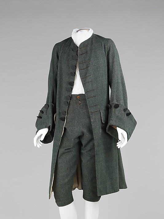 Frockcoat & Breeches (called a suit whereas an ensemble includes a matching waistcoat) Date: 1755–65  Culture: British  Medium: wool, silk  Note large cuffs and large black buttons.: British Medium, Century Men, 175565, 18Th Century, Brooklyn Museums, Century Fashion, Metropolitan Museums, Suits 1755 65, French Style