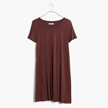 "Swingy and stretchy, this A-line tee dress is made of the softest, drapiest jersey. Add sandals or sneaks for a perfect throw-on-and-go outfit.  <ul><li>Nonwaisted.</li><li>Falls 35"" from highest point of bodice.</li><li>Viscose/elastane.</li><li>Machine wash.</li><li>Import.</li></ul>"