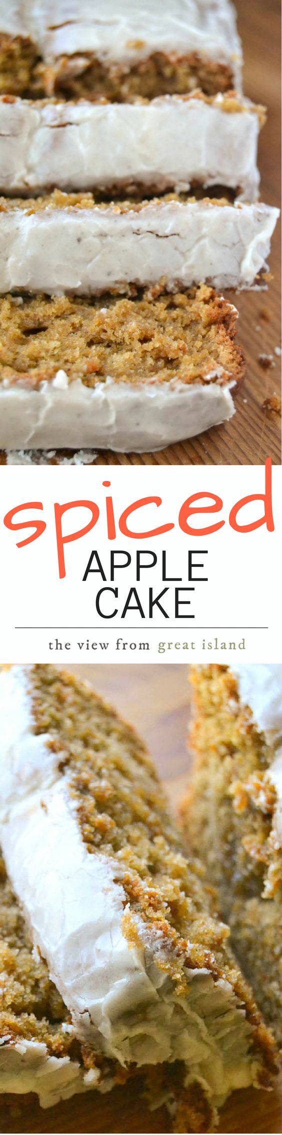 This Spiced Apple Cake has a moist crumb thanks to apple butter, and the perfect amount of spice ~ a nutmeg glaze tops it off! | coffee cake | pound cake | Fall | Breakfast | Dessert |
