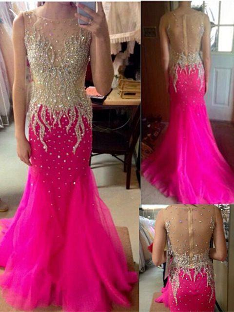 Mermaid Prom Dresses 2016 Scoop Sleeveless Zipper Sweep