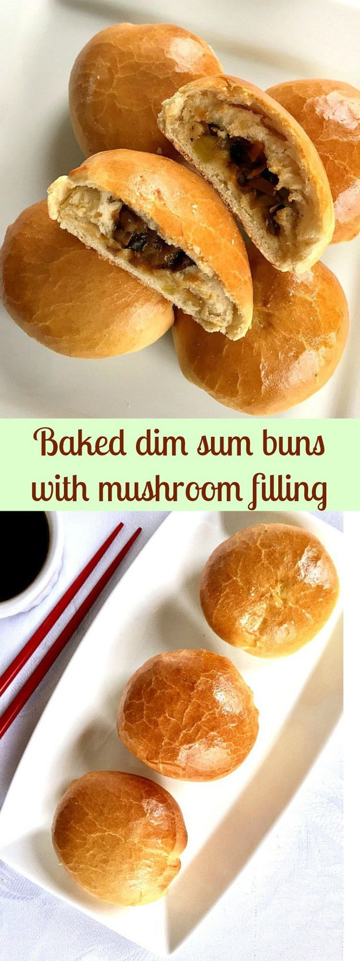 Baked dim sum buns with mushroom filling, a true Chinese delicacy. Perfect vegetarian option if you are looking for a nice recipe.