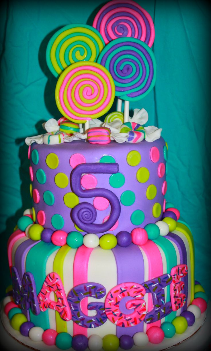 Candy Cake - I made this cake for a little girl who's party was at a Lollipop Shop, so her mom wanted to go along with the candy theme. Its an 8 inch and 6 inch layer cake. All decorations are made from marshmallow fondant.