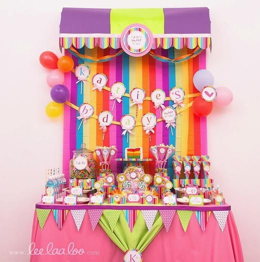 Can make the awning with cardboard... love this idea for a candy bar!: Birthday Parties, Birthdays, Candy Party, 1St Birthday, Candyland Party, Party Ideas, Birthday Ideas, Birthday Party