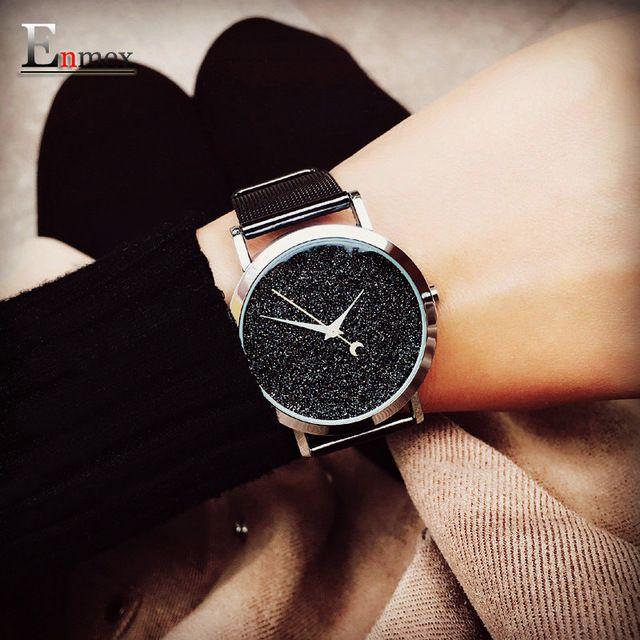 Ladies gift new style watch Enmex creative design dark matter concept design simple face steek band quartz fashion wristwatch