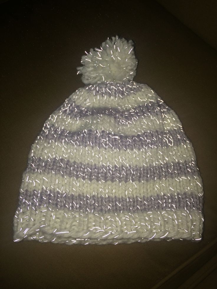 A hat made with reflective yarn. Stay safe!