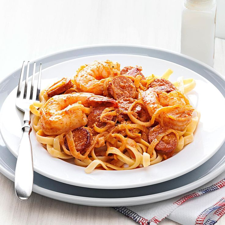 Shrimp Scampi Fettuccine with Andouille Butter Recipe -We enjoy andouille sausage with pasta; now change up the usual Scampi by turning andouille into a butter sauce. —Judy Armstrong, Prairieville, Louisiana