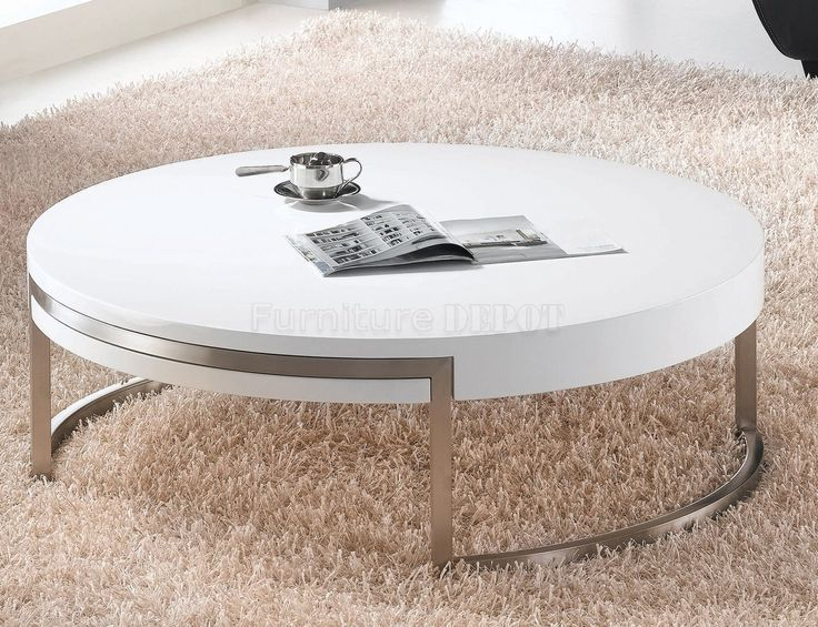 Wonderful Genesis White High Gloss Round Swiveling Coffee Table