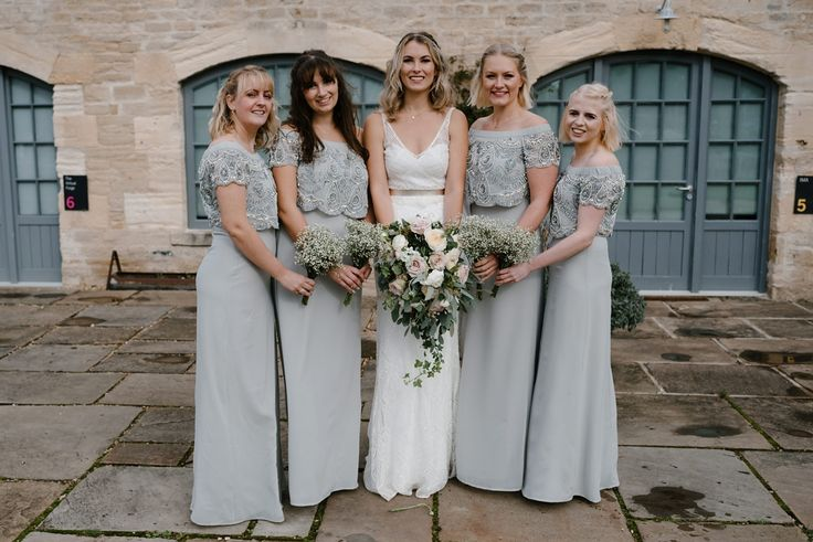 Maids wear full length dove grey dresses for a Fun and Relaxed Party Vibes Wedding Celebration. Images by Elaine Williams
