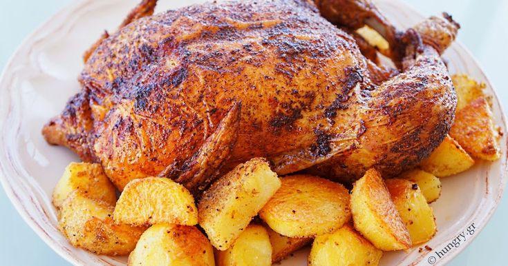 Ψητό Κοτόπουλο με Τηγανητές Πατάτες Φούρνου, Roast Chicken and Oven Fried potatoes, Συνταγές για Ψητό Κοτόπουλο, Συνταγές για Τηγανητές Πατάτες Φούρνου, Τηγανιτές Πατάτες Φούρνου