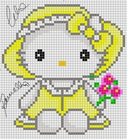 Hello Kitty with flowers perler pattern