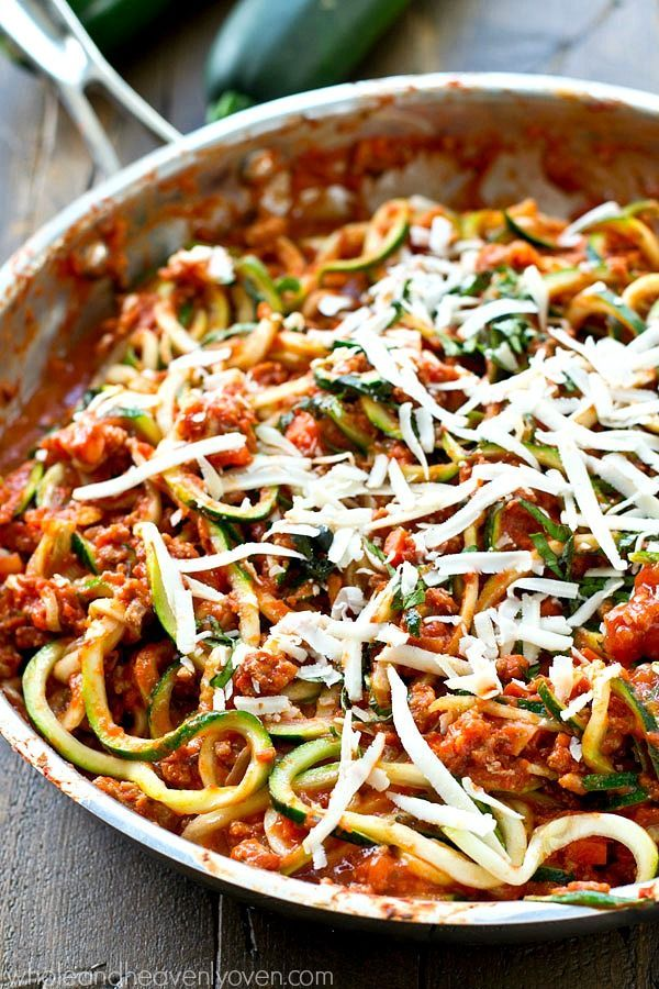 Classic Italian-style bolognese sauce made lighter with ground turkey and zucchini noodles! This one-pan dinner is loaded with an unbelievable amount of flavor.