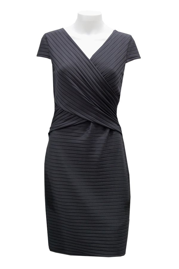 Joseph Ribkoff ~ black dress with criss-cross front and vertical detail.