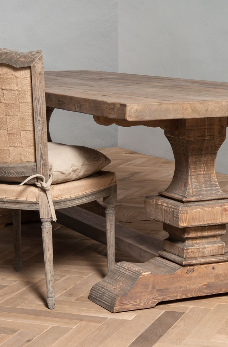 Each piece is characterised by unique hand finishing and attention to authentic detail. VINTAGE LOOSE CUSHION CHAIR and FORTWORTH DINING TABLE