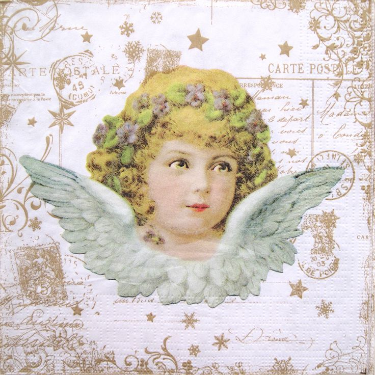Decoupage paper napkins, Vintage angel, Angel, Christmas set of 3 paper napkins, 33x33 cm (no.108) by ArsaiSupplies on Etsy
