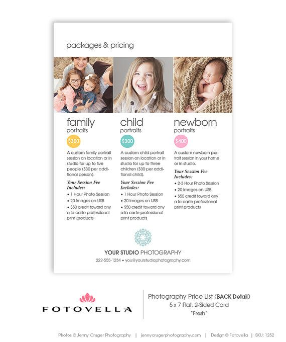 Photography Price List Template 5x7 Card Fresh by FOTOVELLA