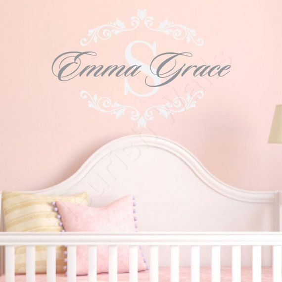 Best Girls Name Wall Decals Images On Pinterest Name Wall - Monogram vinyl wall decals for girls