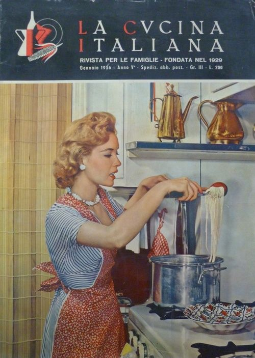 A housewife cooks pasta on an Italian magazine cover, January 1956.