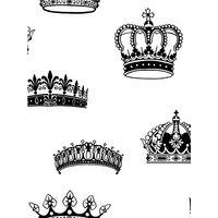 Graham & Brown Crowns & Coronets Wallpaper, Black/White