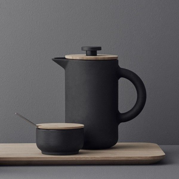 Stelton Theo French Press:  Combining Scandinavian design with Asian culture, this Theo French Press coffee maker from sophisticated, Danish brand, Stelton, is a stylish addition to the coffee lovers kitchen. Incorporating a matte black body and bamboo lid, it creates a both rustic and elegant form. Coffee stains are avoided, with the intelligently designed dripless spout built into the lid and press.