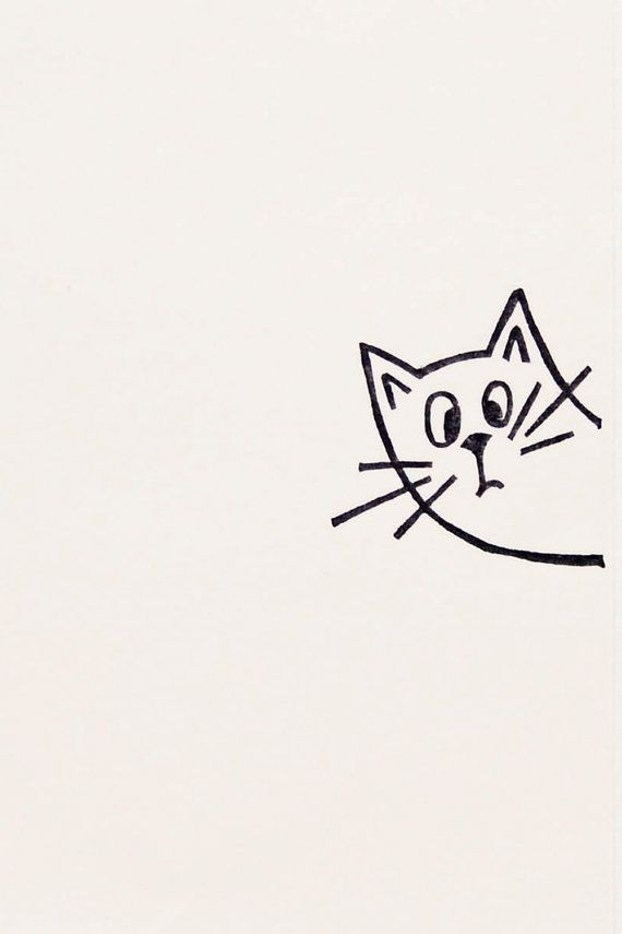 A very surprised cat peek-a-boo stamp - Non-mounted hand carved simple rubber stamp - funny animal stamp