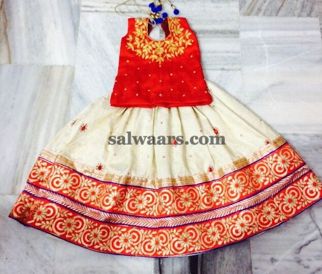 Off White Lehenga Red Blouse - Indian Dresses