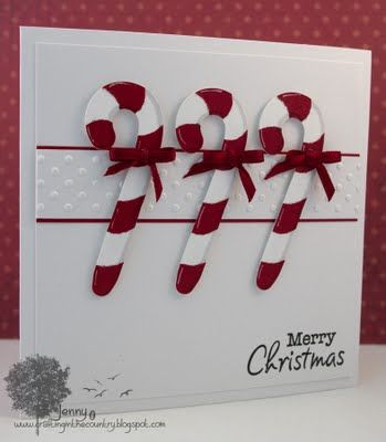 Pretty card!  Cut six canes, three white and three red, then layer!