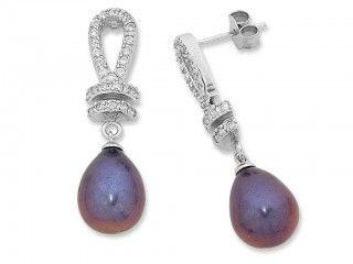 Sterling Silver Purple Freshwater Pearl & Cubic Zirconia Drop Studs. Sku: CS400073