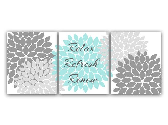 Relax Refresh Renew Bathroom Wall Art Gray and by WallArtBoutique, $20.00