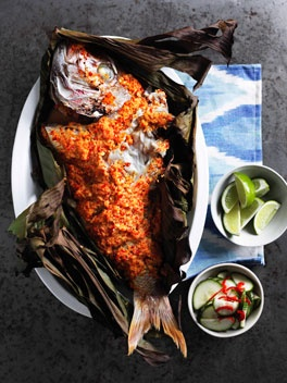 Grilled Fish in Banana Leaves with Cucumber Pickle (Ikan panggang dengan acar ketimun) Australian Gourmet Traveler