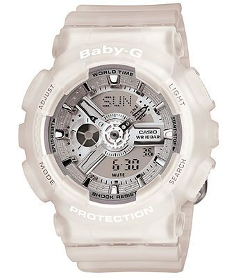 Baby-G Watch, Women's Analog-Digital Frosted Clear Resin Strap 43x46mm BA110-7A2 - G-Shock - Jewelry & Watches - Macy's