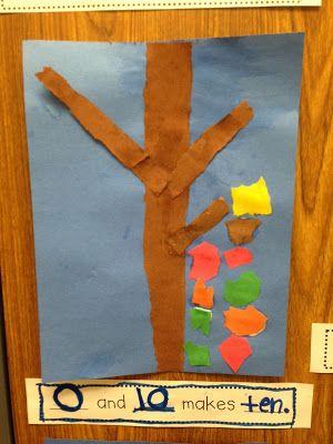 Chalk Talk: A Kindergarten Blog; fall bulletin board with math