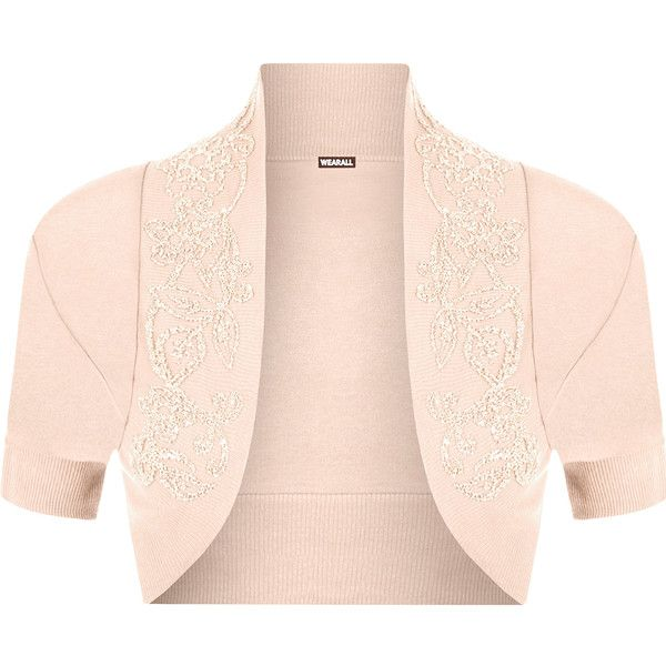 WearAll Plus Size Short Sleeve Beaded Shrug ($14) ❤ liked on Polyvore featuring nude, cardigan shrug, pink shrug cardigan, plus size shrugs, plus size womens shrugs and pink shrug