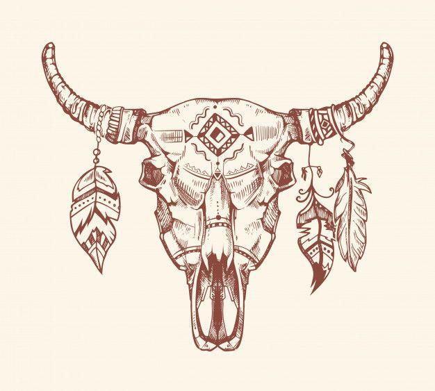 T Shirt Azteque Avec Tete De Mort De Buffle Tatouage Totem Crane De Vache D Animal Mort Avec Des Plumes Dessin Crane Tatouages De Crane De Cerf Tatouage Totem