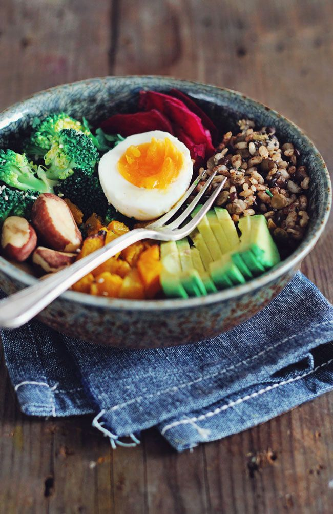 The Complete Nourishing Winter Bowl - filled with brown rice, avocado, sweet potatoes, beet root, greens, nuts, seed and an egg.