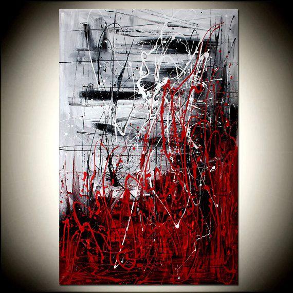 ROSSO nero pittura astratta arte grande opera di largeartwork