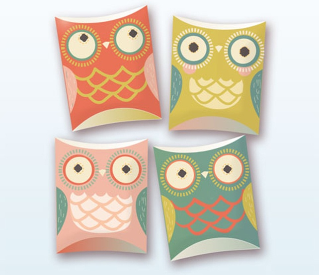 Happy Owl pillow gift boxes printable template by happythought!
