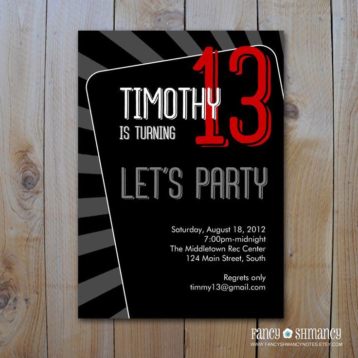 Teen Boy's Birthday Invitation / Let's Party / Printable DIY Invitation File / Item 81312b by FancyShmancyNotes on Etsy https://www.etsy.com/listing/106809313/teen-boys-birthday-invitation-lets-party